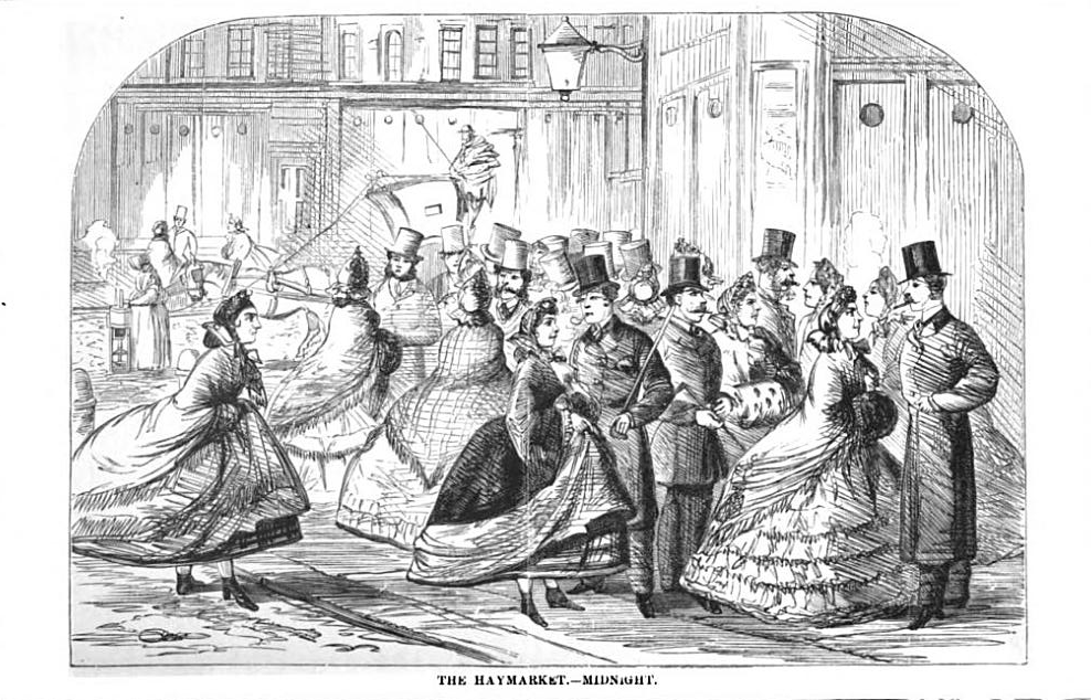 Image: Prostitutes offer their services in the Haymarket, engraving by an unnamed artist. From London Labour and the London Poor: Volume Four by Henry Mayhew.