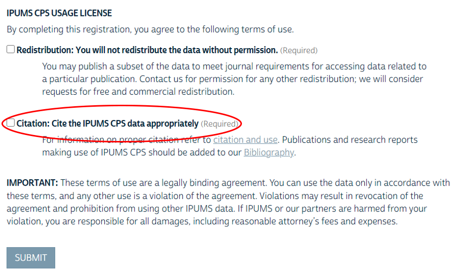 Screenshot of citation agreement