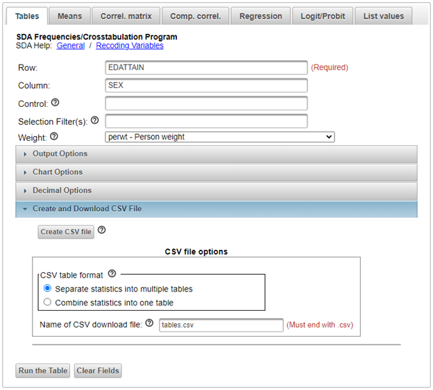Control screen create and download csv file