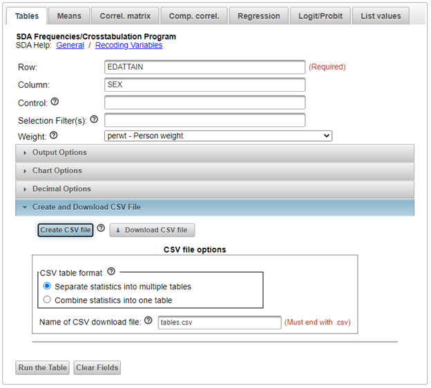Download csv file screen