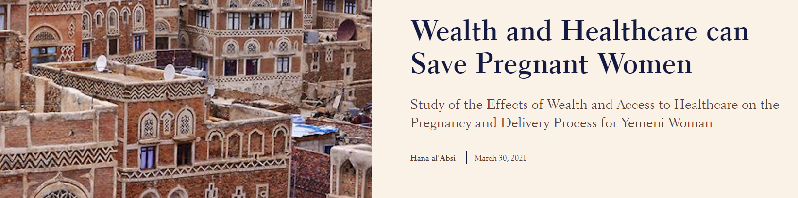 Wealth and Healthcare can Save Pregnant Women