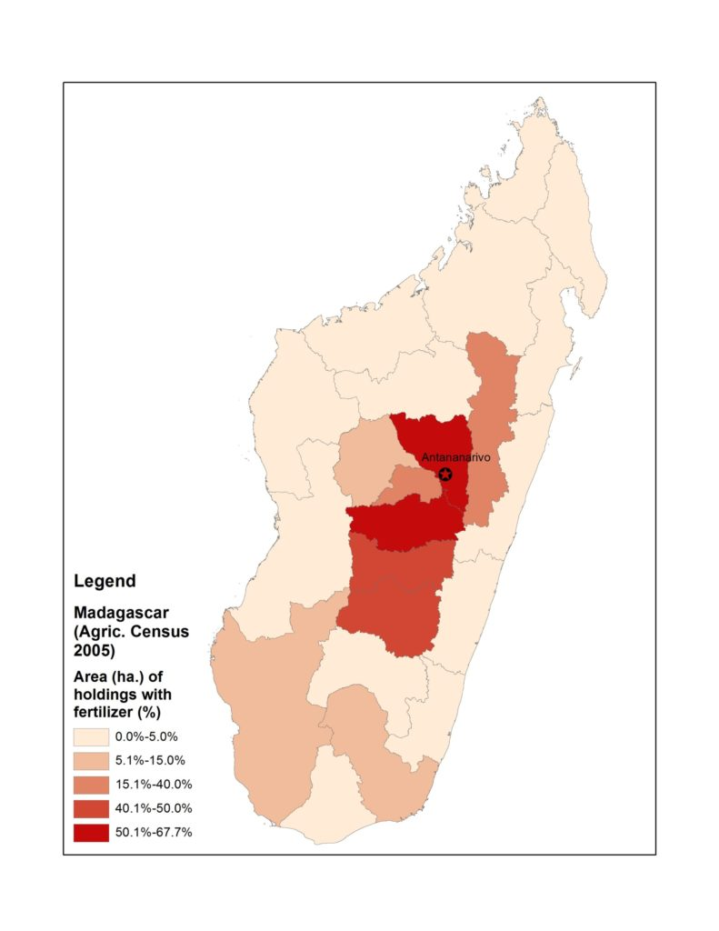 Map of Madagascar with area of holdings with fertilizer